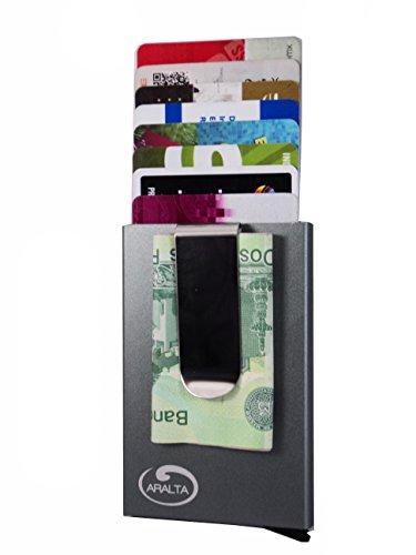 ARALTA Tarjetero Aluminio con diseño de billetera cartera frontal con clip para billetes y bloqueo RFID delgado Minimalista....