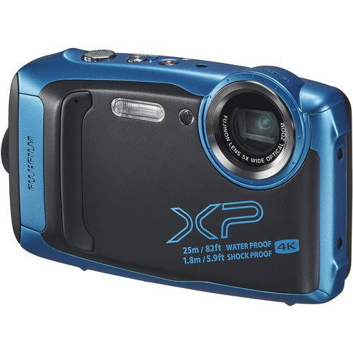 FUJIFILM FinePix XP140 Water, Shock, Freeze and Dustproof Digital Camera (Sky Blue) Bundle; Includes: 64GB & 16GB Memory Cards + Spare Battery + Floating Strap + Camera Case + More