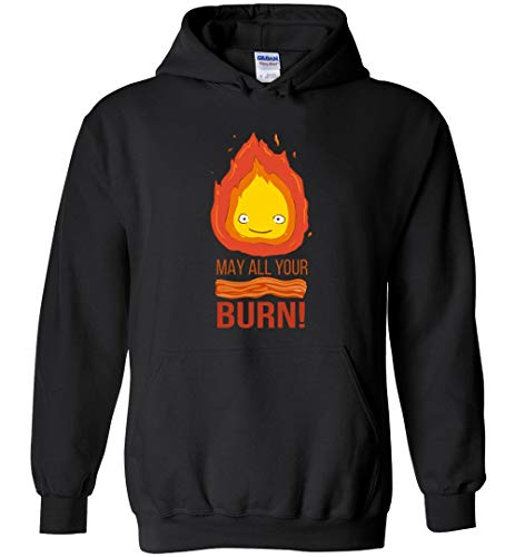 Calcifer May All Your Bacon Burn Howls Moving Castle Inspired Unisex Pullover Hoodie Men/Women Black