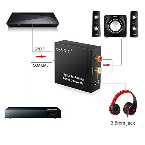 abroad esynic dac digital to analog audio converter optical coax to analog rca audio adapter. Black Bedroom Furniture Sets. Home Design Ideas