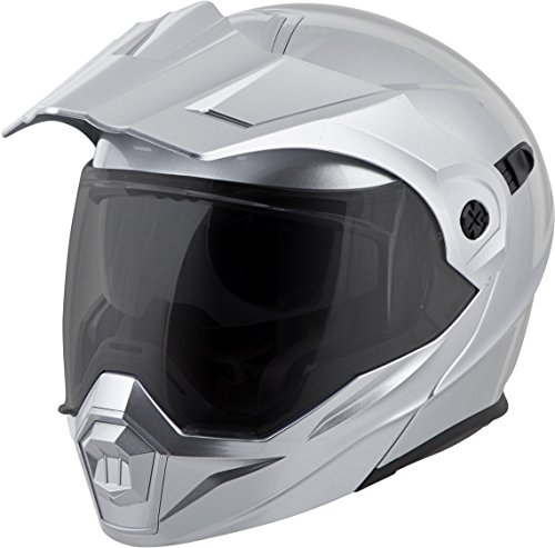 ScorpionEXO Unisex-Adult Modular/Flip Up Adventure Touring Motorcycle Helmet (Hyper Silver, Large) (EXO-AT950 - Quick Strap Goggle Mount