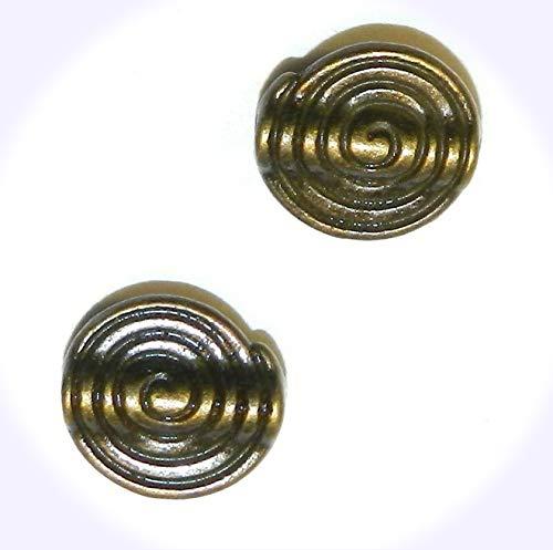 New Antiqued Bronze 10mm Swirl Pattern Flat Round w Raised Center Jewelry-Making Beads 25pc DIY Craft Supplies for Handmade Bracelet -