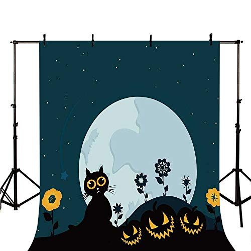 Halloween Decorations Stylish Backdrop,Cute Cat Moon on Floral Field with Starry Night Sky Star Cartoon Art for Photography,118