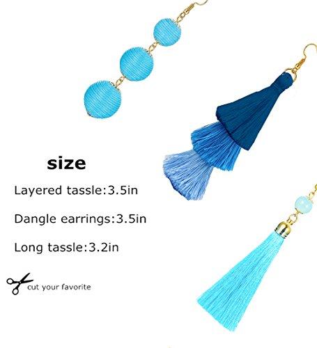 LOLIAS 3 Pairs Long Thread Tassel Earrings Set for Women Girls Beaded Fringe Tassel Earrings Gradient,Blue by LOLIAS (Image #5)