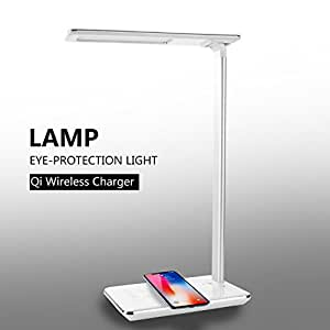 CXCase LED Desk Lamp, Table Lamps, Brightness Adjustable Office Lamp with USB Charging Port, Qi Wireless Charger, Touch Control, 4 Color Modes, Timer, Night Light - White
