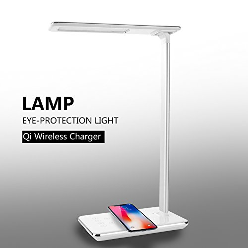 CXCase LED Desk Lamp, Table Lamps, Brightness Adjustable Office Lamp with USB Charging Port, Qi Wireless Charger, Touch Control, 4 Color Modes, Timer, Night Light - White by CXCASE