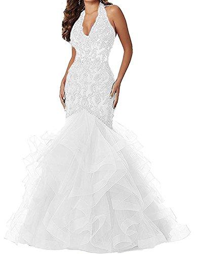 Women's V Neck Applique Beaded Mermaid Prom Dress Halter Formal Gown