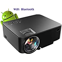 Android Wireless Projector,2017 updated 1500 Lumens LED Smart Portable Multimedia Video Projector for Home Cinema Support Full HD 1080P Bluetooth WIFI RJ45 HDMI VGA AV USB Input