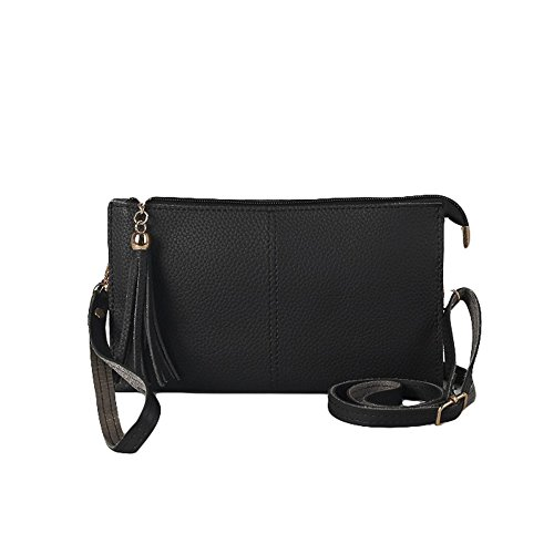 Vegan Elegant Black Ladies Tassel Faux strap Leather Clutch with Bag Adjustable Classic Purse HnAfT