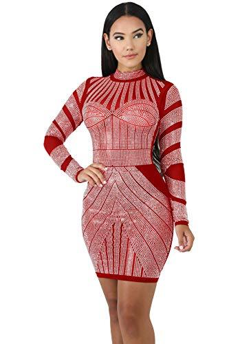 Women's Long Sleeves Rhinestone Digital Print Vintage Cocktail Dress (Large, Red)