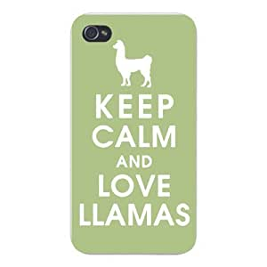 Apple Iphone Custom Case 6 4.7 White Plastic Snap on - Keep Calm and Love Llamas w/ White Silhouette