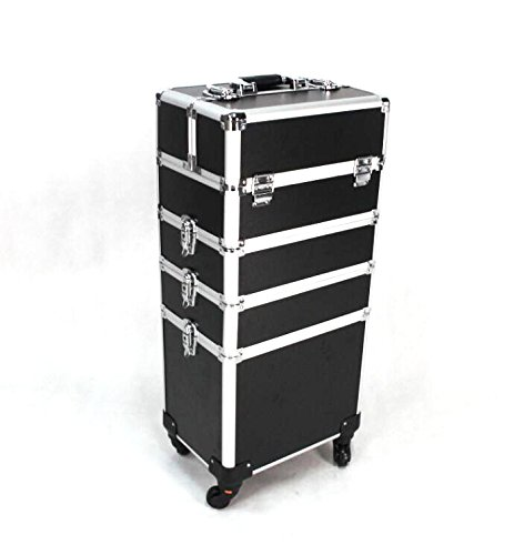 Fixture Displays 2-wheel 4-in-1 Professional Multifunction Artist Rolling Trolley Makeup Beauty Train Case Cosmetic Organizer 16666 by FixtureDisplays