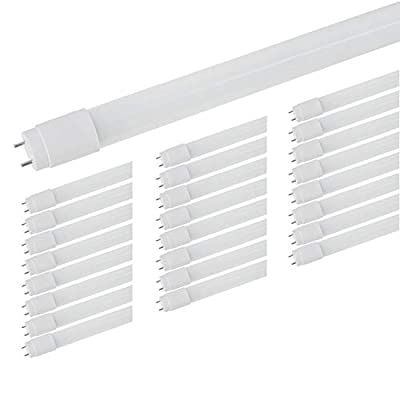 """LED Tubes to Replace Fluorescent. Tubes, Romwish 48"""" 18W(40W Equivalent) 4FT Glass LED Tube Light Fixture T8, 5000K Daylight, 2000LM, Dual-end Powered, G13 Base, Ballast Bypass, Frosted Cover(25 Pack)"""