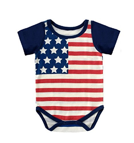 Winzik Newborn Infant Baby Boys Girls Outfits American Flag Pattern Romper Jumpsuit Clothes T-shirt (0-6 months, Short Sleeve) Holiday Romper