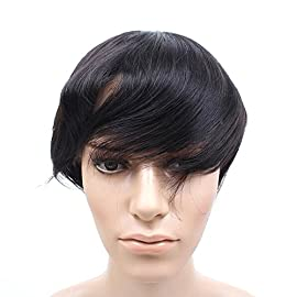 Fabwigs Mens Toupee Wig Human Hair-6×8 Inch Fine Mono Base PU Around Mens Hairpiece Hair Replacement Syaterm(#1 Jet…