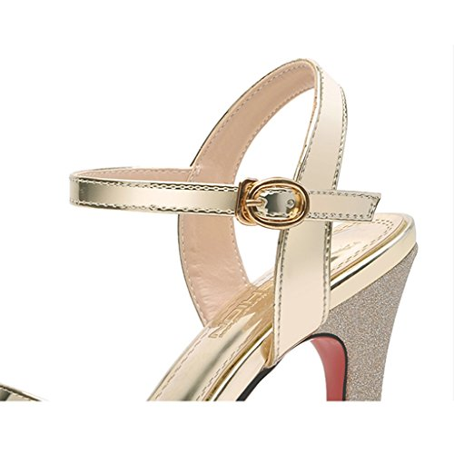 Sandalias UK4 Toe Noche Color Oro Altos Peep CN36 o SUNNY De Las Cita Prom EU36 Lentejuelas Tama Fiesta Tacones Mujeres UxIF4wFq7