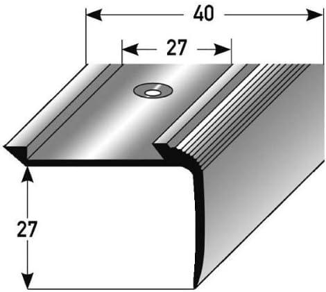 Perfil de escalera / Mamperlán (27 mm x 40 mm) de aluminio anodizado, perforado, bronce claro: Amazon.es: Hogar
