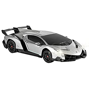 QUN FENG Electric RC Car-Lamborghini Veneno Radio Remote Control Vehicle Sport Racing Hobby Grade Licensed Model Car 1:24 Scale for Kids Adults (Silver)