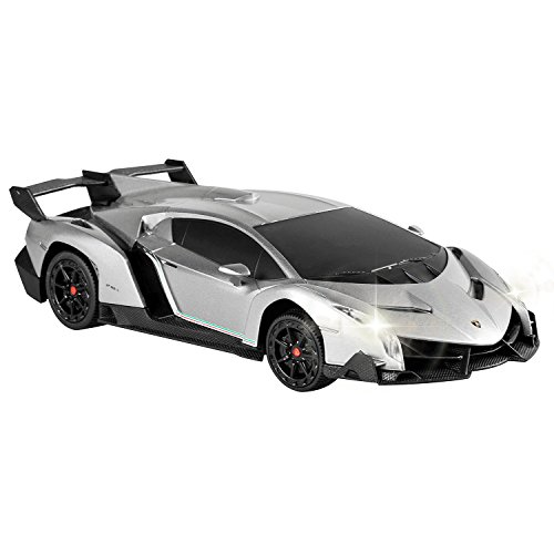 QUN FENG Electric RC Car-Lamborghini Veneno Radio Remote Control Vehicle Sport Racing Hobby Grade Licensed Model Car 1:24 Scale for Kids Adults (Silver) (Remote Controller Car)