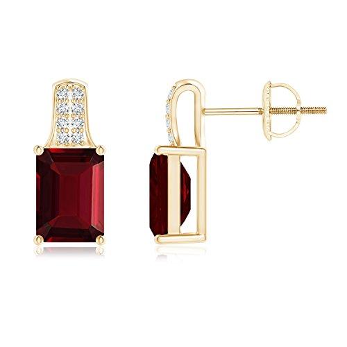 Emerald Cut Garnet Solitaire Stud Earrings for Women with Diamond Accents in 14K Yellow Gold (7x5mm Garnet)
