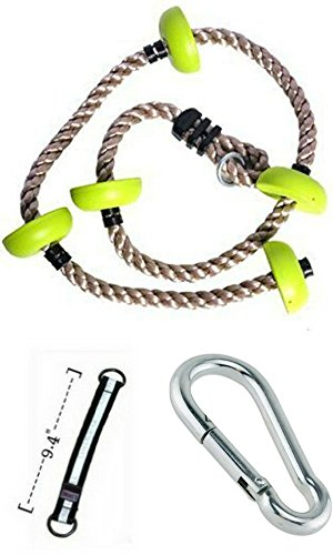 Soarin Supply Co Soft & Durable Green 6.5 ft Climbing Rope for Kids with Ribbed Foot Platforms Complete with Carabiner & Hanging Strap