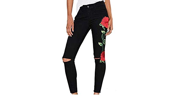 Pantalones Mujer De Vestir Sannysis Vaqueros Rotos Pantalones Mujer Deporte Floral Bordado Deportes Y Aire Libre Ropa