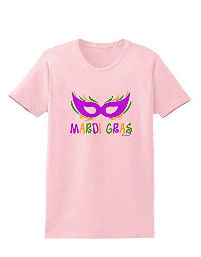 TooLoud Mardi Gras - Purple Gold Green Mask Womens T-Shirt - Pale Pink - (New Orleans Masks For Sale)