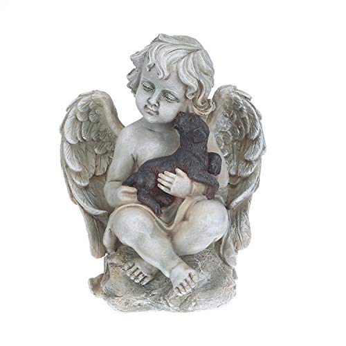 Topadorn Angel Wings with A Little Dog in Arms, Ceramic Statue, Angel Figurine Tabletop Decor Display ()