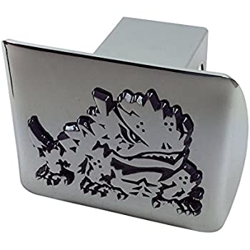 Chrome with Purple Trim AMG TCU Metal Frog Emblem on Black Metal Hitch Cover