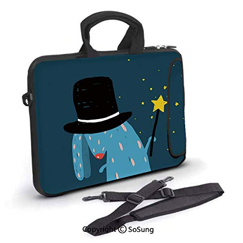 12 inch Laptop Case,Rabbit with Black Hat Magic Wand Doing Tricks Bizarre Cartoon Style Artwork Neoprene Laptop Shoulder Bag Sleeve Case with Handle and Carrying & External Side Pocket,for Netbook/Mac -