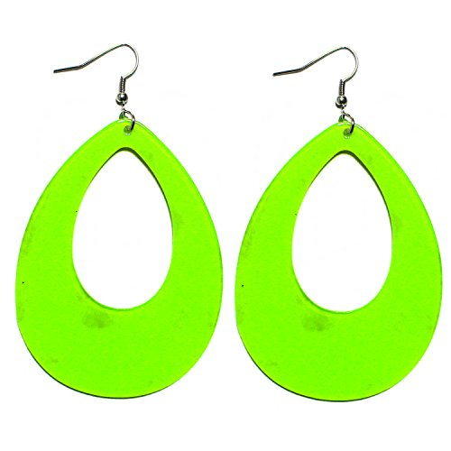 (1980s Fashion Retro Neon Nation Circular Oval Earrings for Women (Green Raindrop))