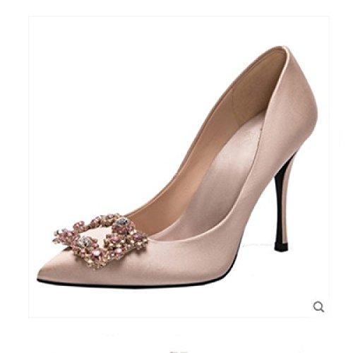 Heels SandalenArbeits Schuhe Damen Strass Sexy High Sommer Womens Spitz Brautjungfer Champagne10CM Pumps Elegante npw6OTXtqx