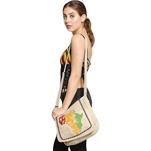 Jah-Lion-African-Love-Hemp-Messenger-bag-Purse-Black-One-Size