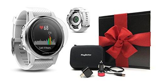 (Garmin Fenix 5S (White/Carrara White Band) Gift Box Bundle | Includes HD Screen Protector, PlayBetter USB Car/Wall Adapter & Hard Case | Multi-Sport GPS Fitness Watch, Wrist-HR | Black Gift Box)
