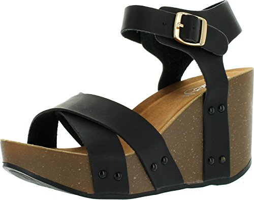 Refresh MARA-05 Womens Criss Cross Platform Wedge Sandal Half Size Smaller, Color:BLACK, Size:8 (Sandals Black 8 Wedge Womens Size)