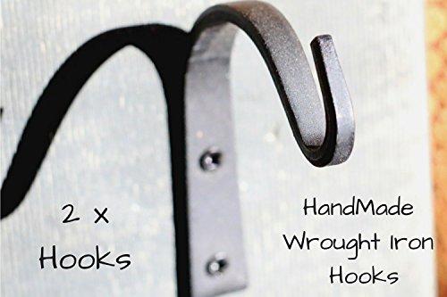 Wrought Iron Hooks Wrought Hooks Hanger Wrought Iron hooks for Lantern Wrought Iron Hooks for Coat Wrought Iron Hooks Rustic Wrought Iron Hooks for Hanging Wrought Iron Hooks Vintage - 2 Hooks!