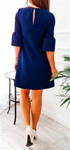 Neck Navy T CMC Loose Plain Half Blue Shirt Chiffon Sleeve Womens Round Dress Fit 7WzzqF85n
