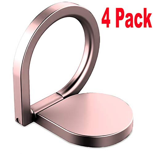 (4 Pack Finger Ring Stand,iEugen 360 Rotary Cell Phone Holder Finger Loop Grip Mount Universal Smartphone Kickstand for iPhone Xs XR MAX 8/7 Plus, 6/6S Plus, Samsung Galaxy S8/S9 Plus-Rosegold)