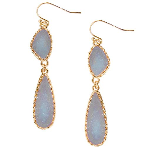 - Humble Chic Simulated Druzy Drop Dangles - Long Double Teardrop Dangly Earrings for Women, Periwinkle, Dusty Slate Blue, Sky Blue-Purple, Lavender, Gold-Tone