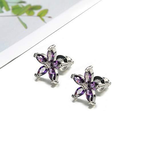 Tomikko Vintage 925 Silver Five Star Flower Blue Sapphire Snowflake Ear Stud Earrings | Model ERRNGS - 11503 |