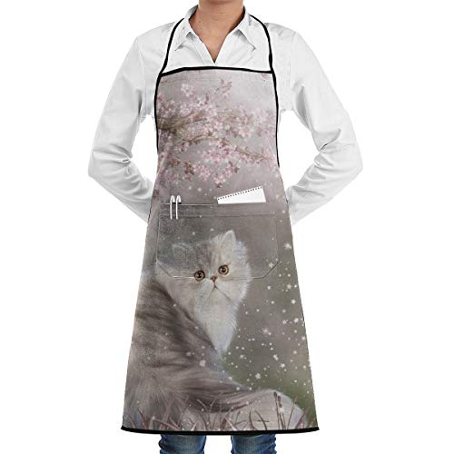 (JTLCBC Sunshine Cherry Persian Cat Adjustable Bib Chef Pockets and Extra Long Ties, Kitchen Apron for Cooking Baking Crafting Gardening BBQ Gift)