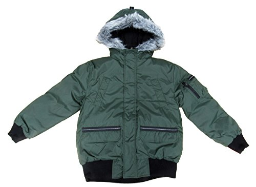Hawke & Co Boy's Classic Bomber Jacket with Faux-Coyote trimmed hood Military Olive 8 by Hawke & Co
