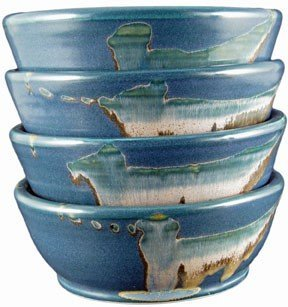 Set Of (4) Four - PRADO STONEWARE COLLECTION - Stacking/Stackable Cereal, Ice Cream, Desserts, Salad, Soup Bowls - Matte Blue ()