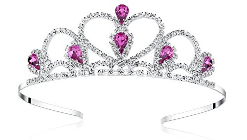 Lovelyshop Purple Gems Rhinestone Tiara No Comb for Little Kid Big Kid Prom Birthday Prinecess Crown ()