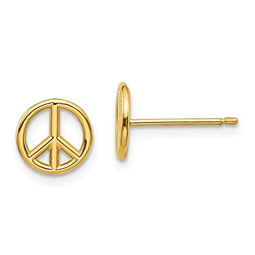 14k Yellow Gold Peace Symbol Post Stud Earrings Inspiration Fine Jewelry Gifts For Women For Her ()