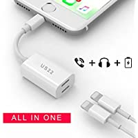 Charger & Headphones Adapter / Splitter for Iphone 7 / Iphone 7 Plus/ Ipad, Charge & Listen to music same time, [Supports All IOS Versions] Dual Lightning Headphone & Charge Adapter (US22) (White)