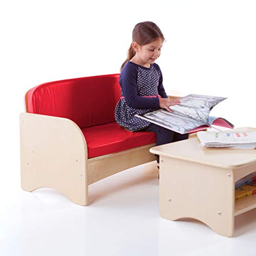 Guidecraft Children's Wooden Reading Couch with Red Cushion - Durable Classroom Playroom Furniture