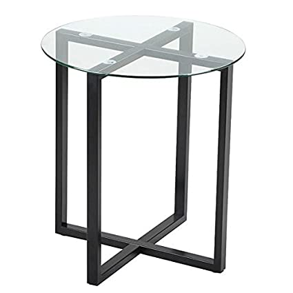 Bon Round Glass End Tables Small Spaces Sofa Side Table Living Room Accent  Table Metal Legs Frame