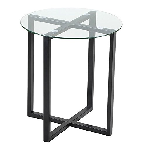 Round Tilt Top Accent Table - Round Glass End Tables Small Spaces Sofa Side Table Living Room Accent Table Metal Legs Frame