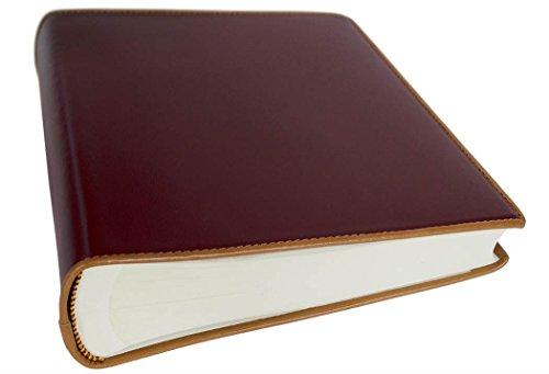 LEATHERKIND Cortona Medium Burgundy Handmade Italian Leather Bound Photo Album, Classic Style Pages (26cm x 22cm x - Florence Bookcase